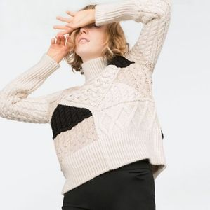 Zara Knit Patchwork Cable Knit Sweater